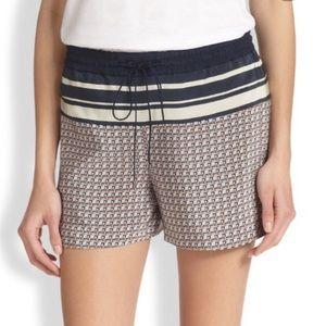 Vince silk geometric pattern drawstring shorts